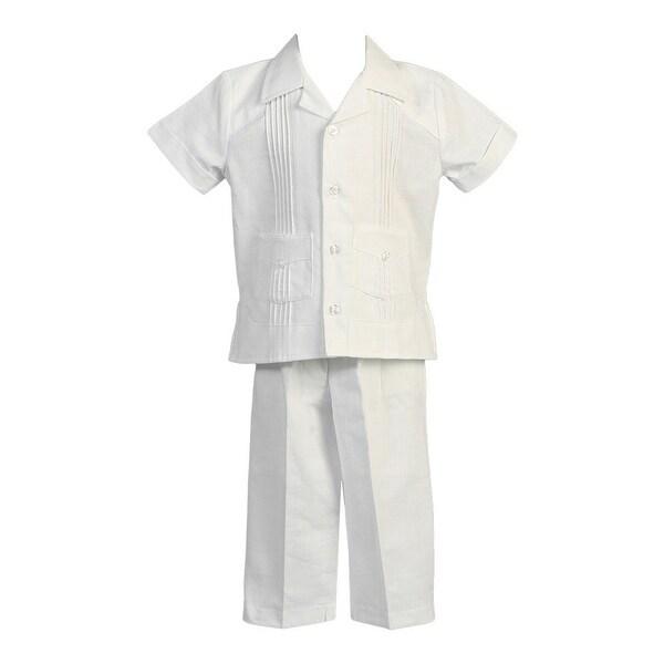 Angels Garment Baby Boys White Pocket Top Pants Linen Christening Set