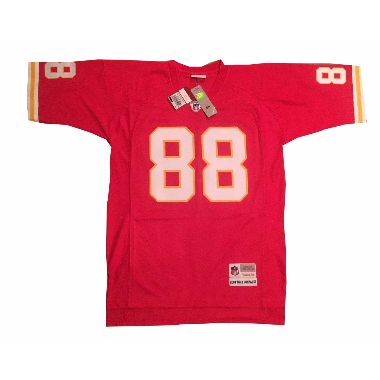 buy popular 85a29 bb036 Tony Gonzalez Autographed Kansas City Chiefs Signed Mitchell Ness Football  Jersey JSA COA