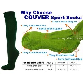 Dark Green Couver Knee High Unisex Sports Athletic Baseball Softball Socks(3 Pairs)