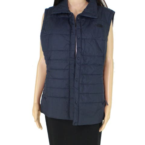 The North Face Womens Vest Navy Blue Size XL Solid Snap-Front Puffer