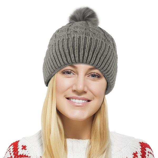 Chunky Cable Knit Beanie Hat w/ Faux Fur Pom Pom - Winter Soft Stretch Cap Hat
