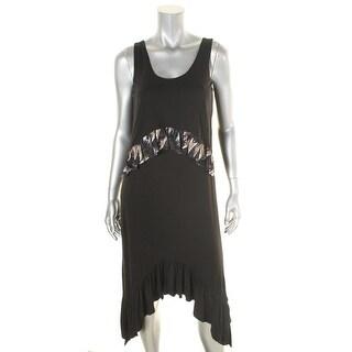 Diane Von Furstenberg Womens Perri Casual Dress Silk Trim Sharkbite Hem