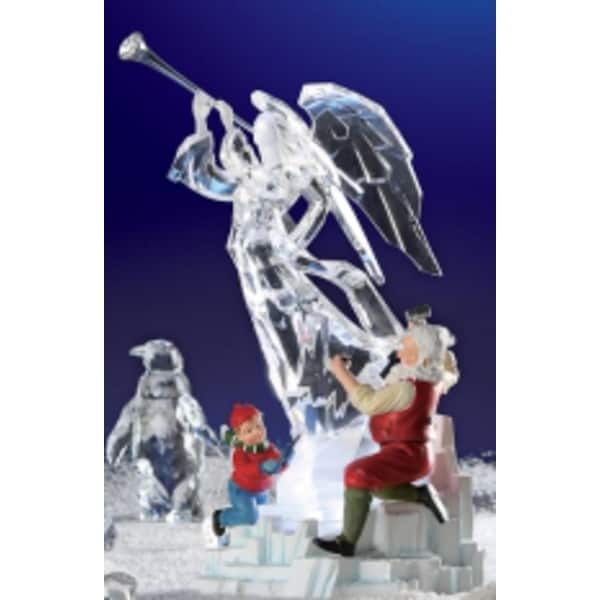 Pack of 2 Icy Crystal Illuminated Santa & Helper w/ Ice Sculpture Figures 13.5""