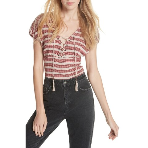 We The Free Red Womens Size XS Ribbed Sail Out Lace Up Knit Top