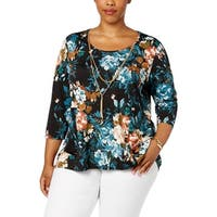 NY Collection Womens Plus Blouse Floral Print Hi-Low