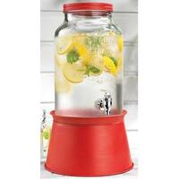 Palais Glassware High Quality Mason Jar Beverage Dispenser - Traditional Tin Screw Off Lid - 1.5 Gallon Capacity .