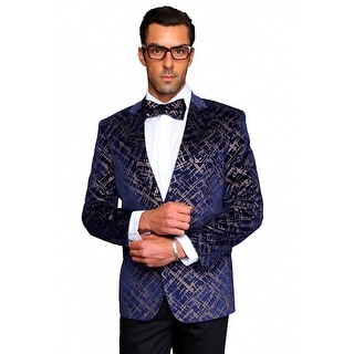MZV-413 NAVY Men's Manzini Fancy 2 button Paisley design Velvet, sport coat.