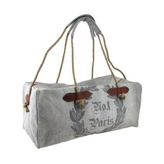 No.1 Paris Print Gray Cotton Canvas Duffle Bag w/Rope Handles