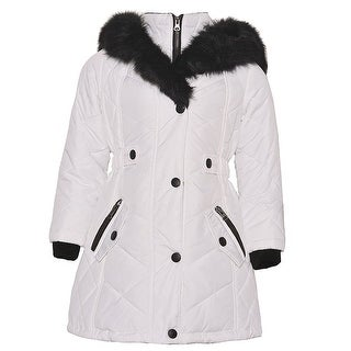KC Collections Little Girls White Black Faux Fur Trim Hooded Puffer Coat