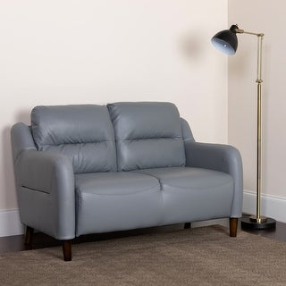 Upholstered Bustle Back Loveseat in LeatherSoft - Living Room Furniture