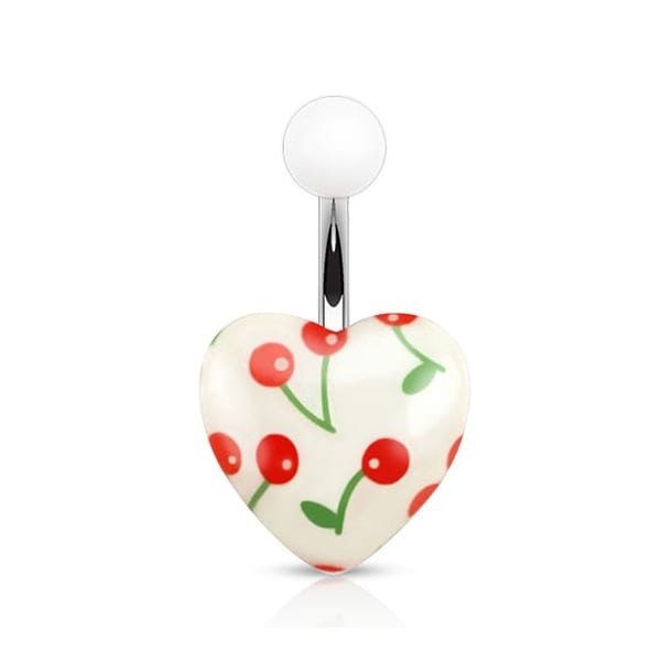 Cherry Print on White Acrylic Heart 316L Surgical Steel Navel Belly Button Ring