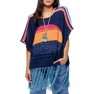 Free People Womens Sweater Fringe Short Sleeves