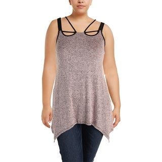 MBLM By Tess Holliday Womens Plus Tunic Top Marled Cut-Out