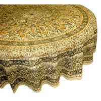 Handmade Vegetable Dye Floral Block Print Tablecloth 100% Cotton Green Rectangle Square Round