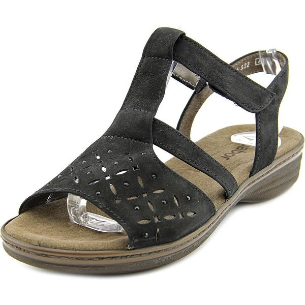 Gabor Walking Sandal Gems Women Open-Toe Leather Black Slingback Sandal