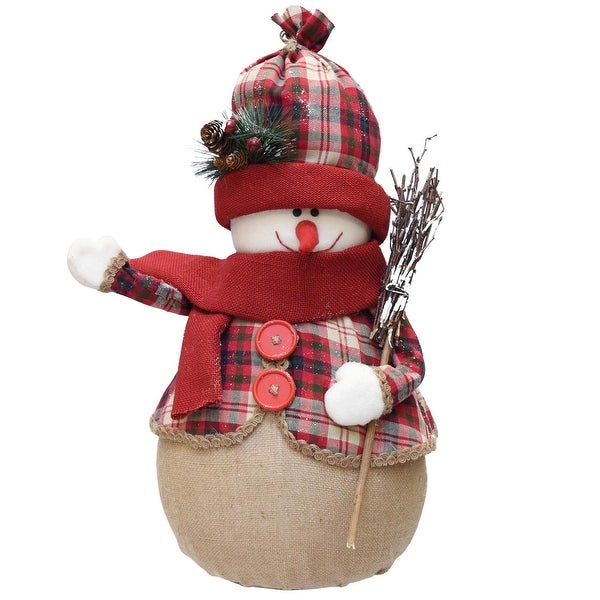 """22"""" Red and Brown Plaid Snowman with Broom, Scarf and Hat Table Top Christmas Figure"""