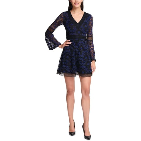 Kensie Womens Scuba Dress Lace Bell Sleeve