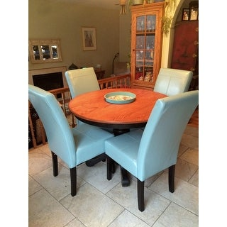 T Stitch Teal Blue Leather Dining Chairs (Set Of 2) By Christopher Knight