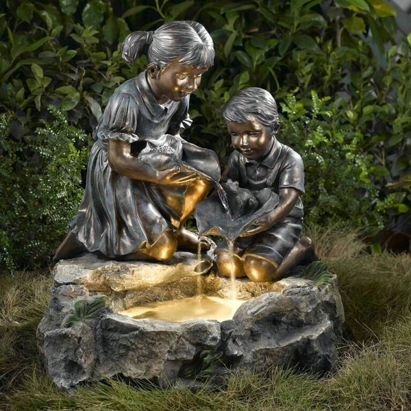 "24"" Lighted Brother and Sister Bronze Finish Outdoor Patio Garden Water Fountain - N/A"