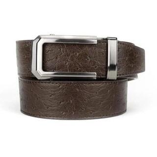Nexbelt Premium Classic Ostrich Brown Leather Strap Dress Belt