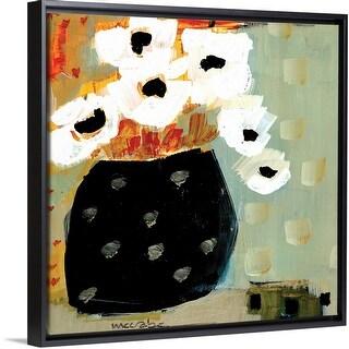 """""""White Flowers, Black Pot"""" Black Float Frame Canvas Art"""