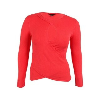 Guess Women's Long Sleeve Crossover Sweater - bright coral - l