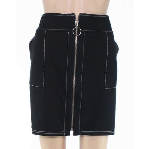 INC Womens Skirt Black Size PXL Petite Mini Full Zipper Front Stretch
