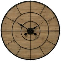 "StyleCraft SC-WC2136  36 1/3"" Metal and Wood Analog Numberless Clock - Natural"