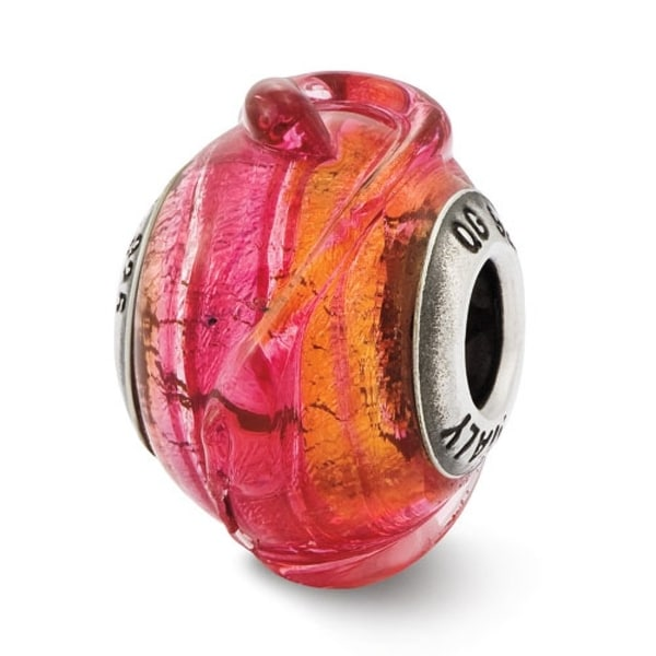 Italian Sterling Silver Reflections Pink with Textured Lines Glass Bead (4mm Diameter Hole)