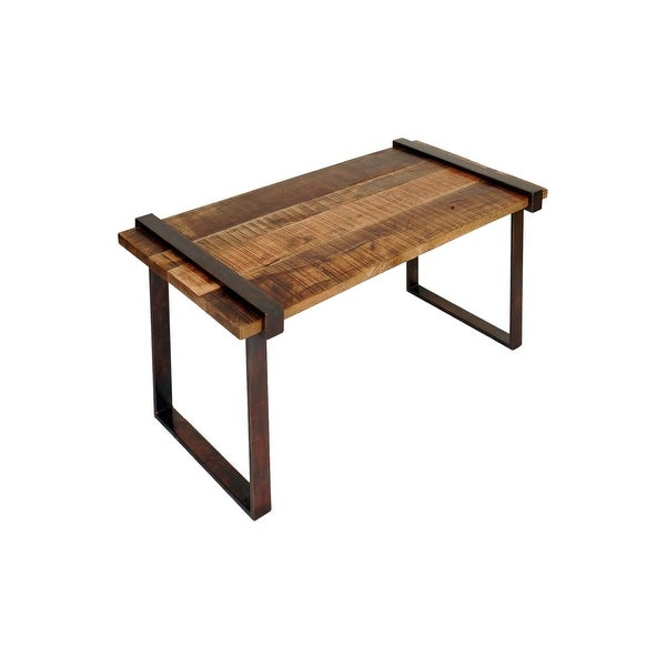 Stylecraft Sc Isf24374 42 Long Rough Cut Wood And Strap Iron Coffee Table Natural Stain Free Shipping Today 28025718