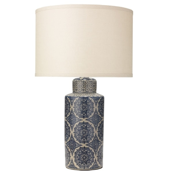 "25"" Deliah Table Lamp in Blue with Medium Drum Shade in Stone Linen - N/A"
