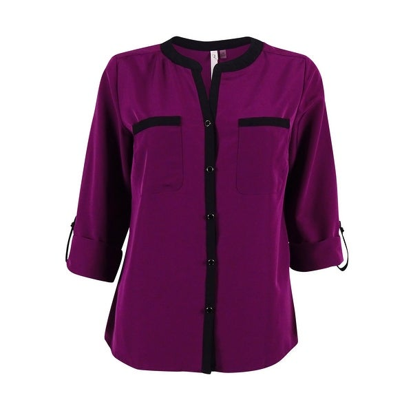 NY Collection Women's Tab-Sleeve Split Neck Top - Dark Purple - pm