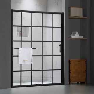 """Link to FELYL 60"""" W × 72"""" H Single Sliding Framed Shower Door with Heat Soaking Process and Protective Coating Clear Glass Similar Items in Bathtubs"""