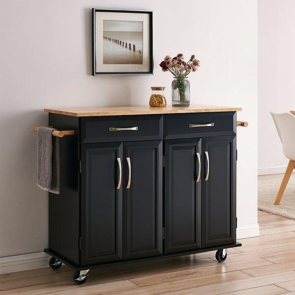 Belleze Black Wood Top Portable Kitchen Storage Cart Island Rolling Overstock 26880756