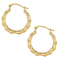 Mcs Jewelry Inc 10 KARAT YELLOW GOLD SHINY BAMBOO ROUND HOOP EARRINGS (18MM)