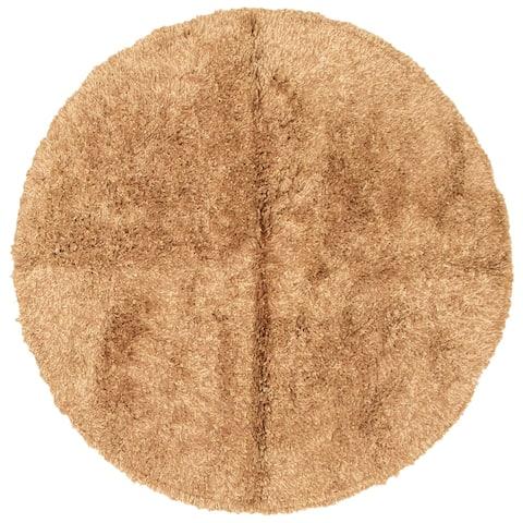 ECARPETGALLERY Hand-knotted Casablanca Retro Tan Silk, Wool Shag - 6'7 x 6'7