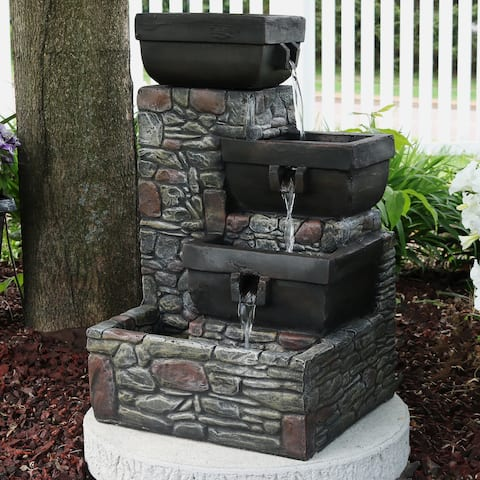 Sunnydaze 4-Tier Square Bowls Outdoor Water Fountain with LED Lights - 22-Inch