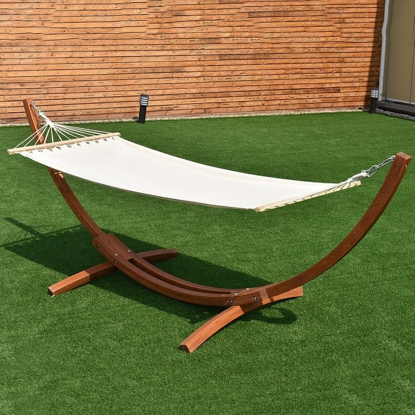 costway 123 u0027 u0027x46 u0027 u0027x48 u0027 u0027 wooden curved arc hammock stand with cotton hammock outdoor   free shipping today   overstock     23034137 costway 123 u0027 u0027x46 u0027 u0027x48 u0027 u0027 wooden curved arc hammock stand with      rh   overstock