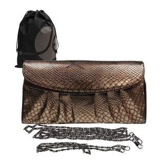 Snake Skin Snap Hand or Shoulder Clutch Purse, Removable Chain Shoulder Strap with Bonus Reusable Storage Bag - Blue