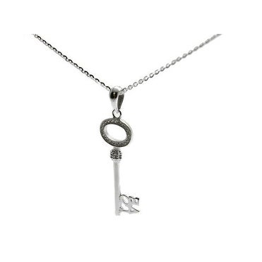 Italian Made Sterling Silver Cable Chain 925 Sterling Silver 'Love' Key Necklace with Cubic Zirconia