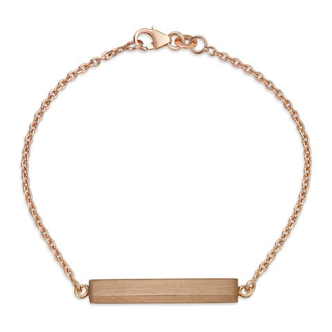 Minimalist Name Plate ID Bar Bracelet For Women For Teen Engravable Rose Gold Plated 925 Sterling Silver