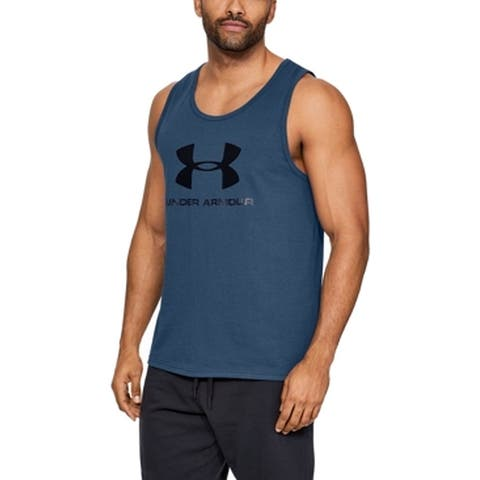 Under Armour Mens Top Blue Size Small S Activewear Tank Logo Printed