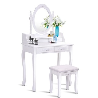 Costway White Vanity Wood Makeup Dressing Table Stool Set bathroom with Mirror + 4Drawers  sc 1 st  Overstock.com & Costway White Vanity Wood Makeup Dressing Table Stool Set bathroom ...