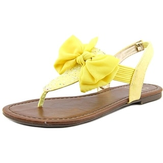 Material Girl Swan Women  Open Toe Canvas Yellow Thong Sandal