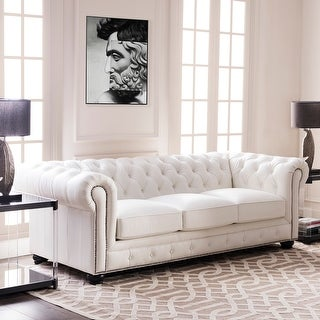 """Link to Copper Grove Kasama Chesterfield White Leather Sofa - 95""""W x 40.5""""D x 30.5""""H Similar Items in Sofas & Couches"""