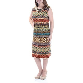 SANDRA DARREN Womens New 2611 Brown Printed Beaded Sleeveless Dress 10 B+B