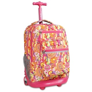 J World New York Sundance Rolling Backpack, Pink Paisley