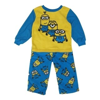 Minions Little Boys Yellow Blue Character Printed Pull On 2 Pc Pajama 2-4T