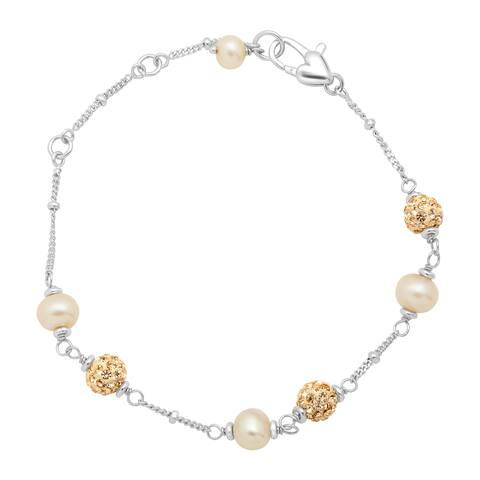Girl's Champagne Freshwater Pearl Bracelet with Crystals in Sterling Silver