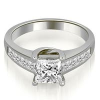 1.00 cttw. 14K White Gold Channel Princess Cut Diamond Engagement Ring